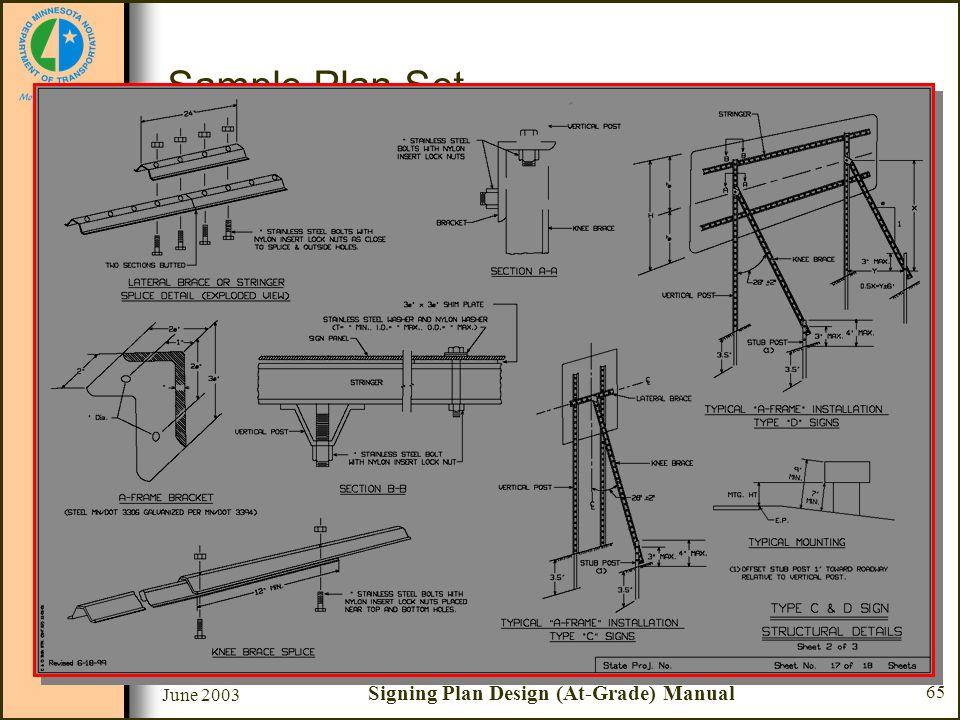 June 2003 Signing Plan Design (At-Grade) Manual 65 Sample Plan Set Sheet #17 - Type C & D Sign Structural Details –Typical A-Frame installations Type