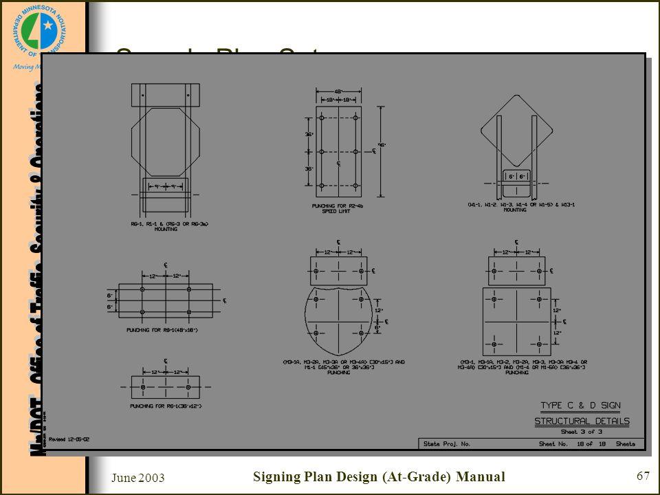 June 2003 Signing Plan Design (At-Grade) Manual 67 Sample Plan Set Sheet #18 - Type C & D Sign Structural Details –Mounting & punching details