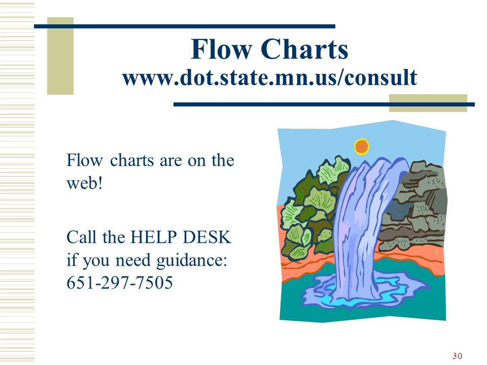 30 Flow Charts www.dot.state.mn.us/consult Flow charts are on the web! Call the HELP DESK if you need guidance: 651-297-7505