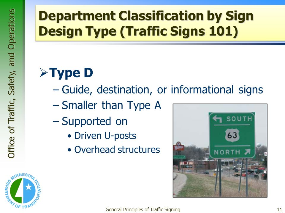 Office of Traffic, Safety, and Operations General Principles of Traffic Signing11 Department Classification by Sign Design Type (Traffic Signs 101) Type D –Guide, destination, or informational signs –Smaller than Type A –Supported on Driven U-posts Overhead structures