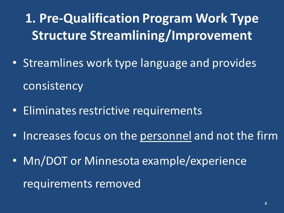 1. Pre-Qualification Program Work Type Structure Streamlining/Improvement Streamlines work type language and provides consistency Eliminates restricti
