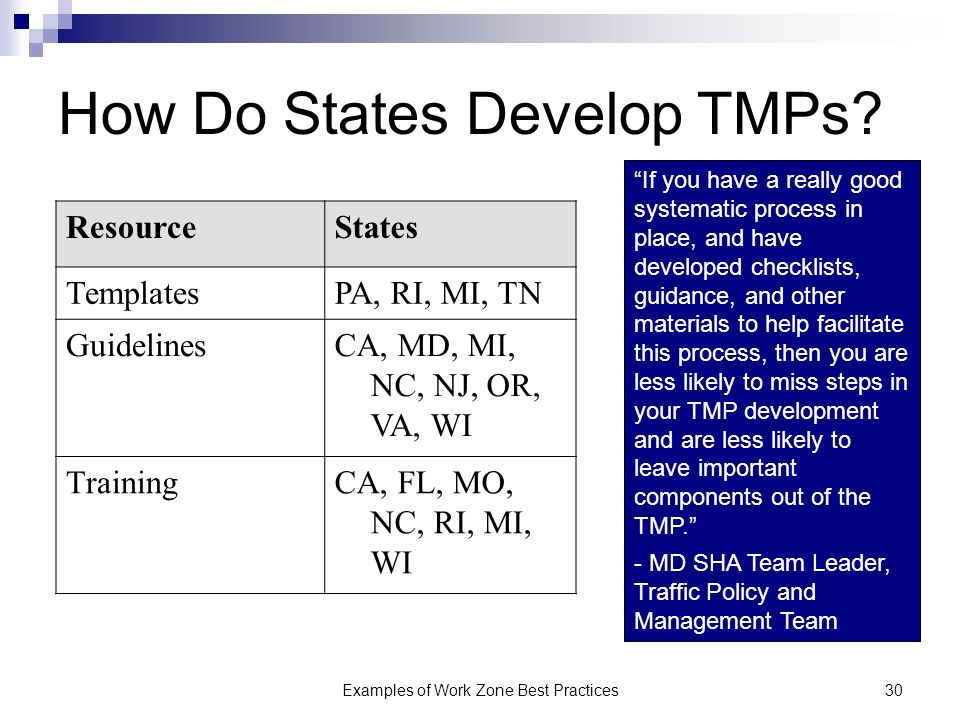 Examples of Work Zone Best Practices30 How Do States Develop TMPs.