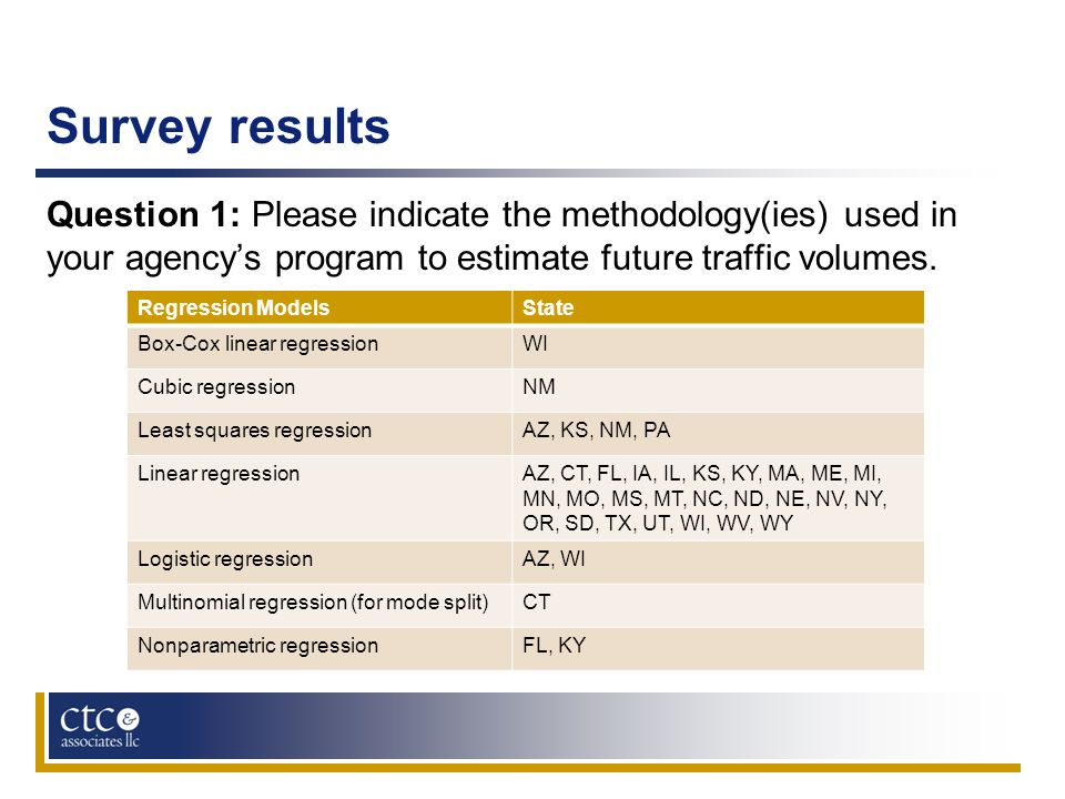 Survey results Question 1: Please indicate the methodology(ies) used in your agencys program to estimate future traffic volumes. Regression ModelsStat