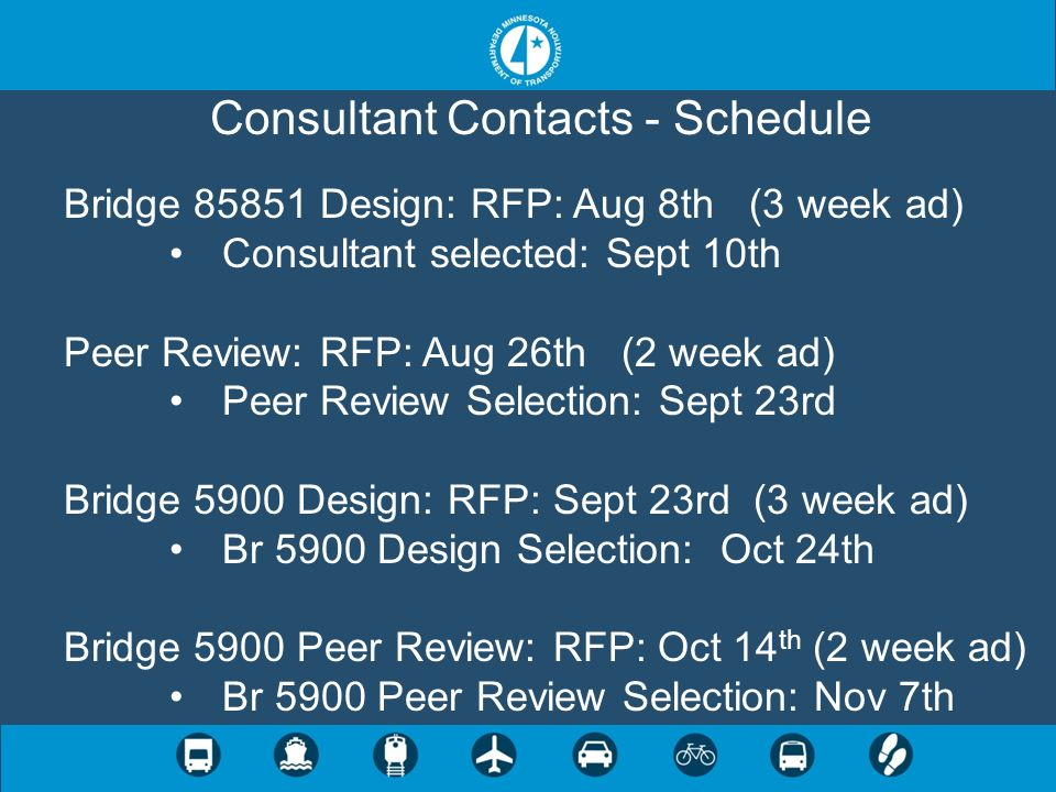 Consultant Contacts - Schedule Bridge 85851 Design: RFP: Aug 8th (3 week ad) Consultant selected: Sept 10th Peer Review: RFP: Aug 26th (2 week ad) Pee
