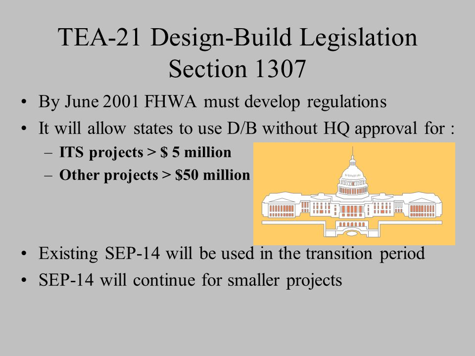 TEA-21 Design-Build Legislation Section 1307 By June 2001 FHWA must develop regulations It will allow states to use D/B without HQ approval for : –ITS projects > $ 5 million –Other projects > $50 million Existing SEP-14 will be used in the transition period SEP-14 will continue for smaller projects