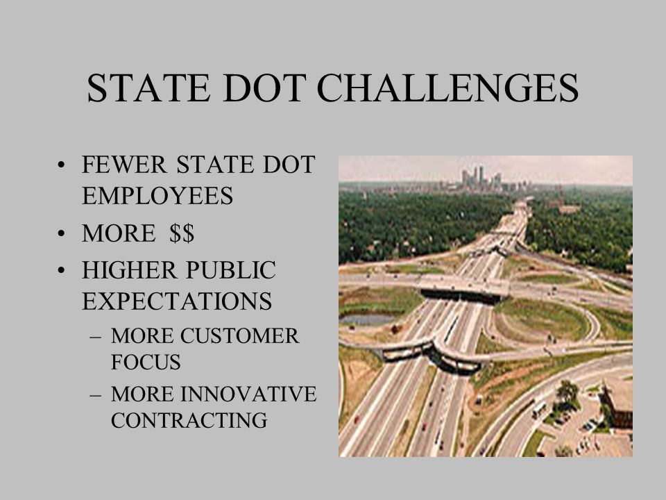 STATE DOT CHALLENGES FEWER STATE DOT EMPLOYEES MORE $$ HIGHER PUBLIC EXPECTATIONS –MORE CUSTOMER FOCUS –MORE INNOVATIVE CONTRACTING