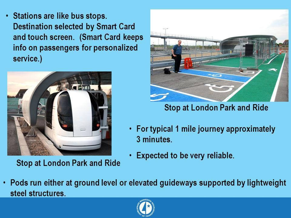 Stations are like bus stops. Destination selected by Smart Card and touch screen. (Smart Card keeps info on passengers for personalized service.) For