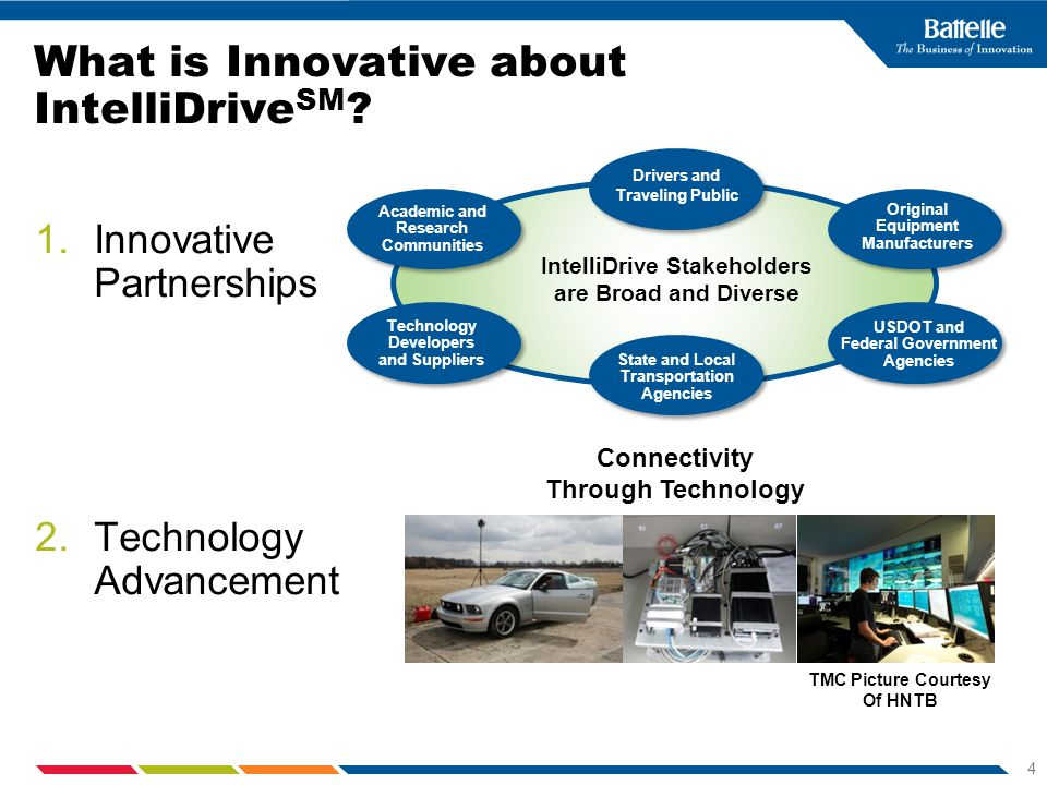 4 What is Innovative about IntelliDrive SM ? 1.Innovative Partnerships 2.Technology Advancement Drivers and Traveling Public Original Equipment Manufa