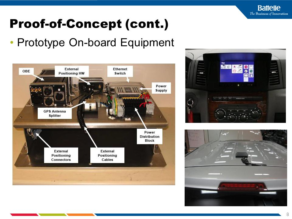 8 Proof-of-Concept (cont.) Prototype On-board Equipment