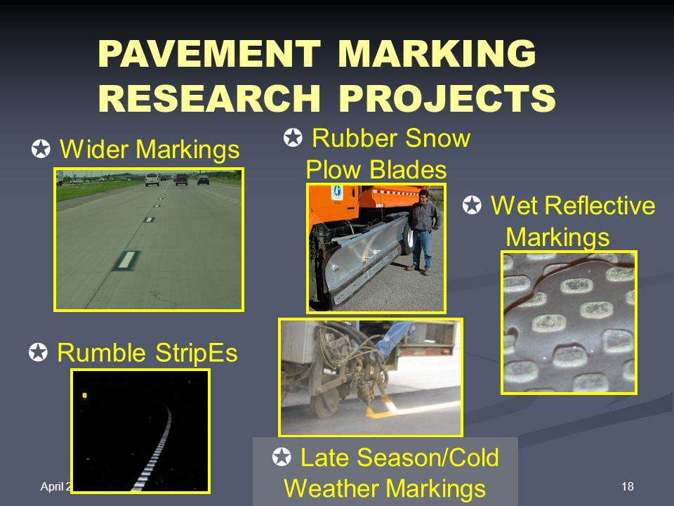 April 25, 2008 18Operations Division PAVEMENT MARKING RESEARCH PROJECTS Wet Reflective Markings Wider Markings Rubber Snow Plow Blades Late Season/Col
