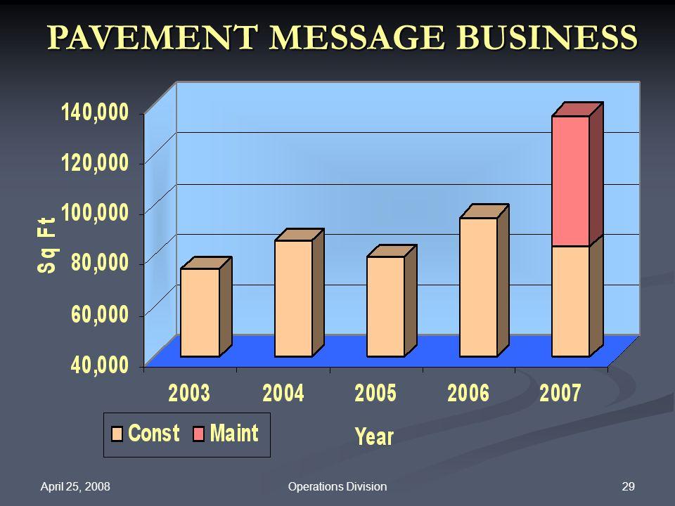 April 25, 2008 29Operations Division PAVEMENT MESSAGE BUSINESS