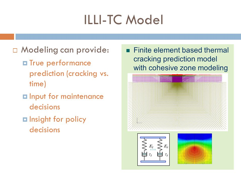 ILLI-TC Model Modeling can provide: True performance prediction (cracking vs. time) Input for maintenance decisions Insight for policy decisions