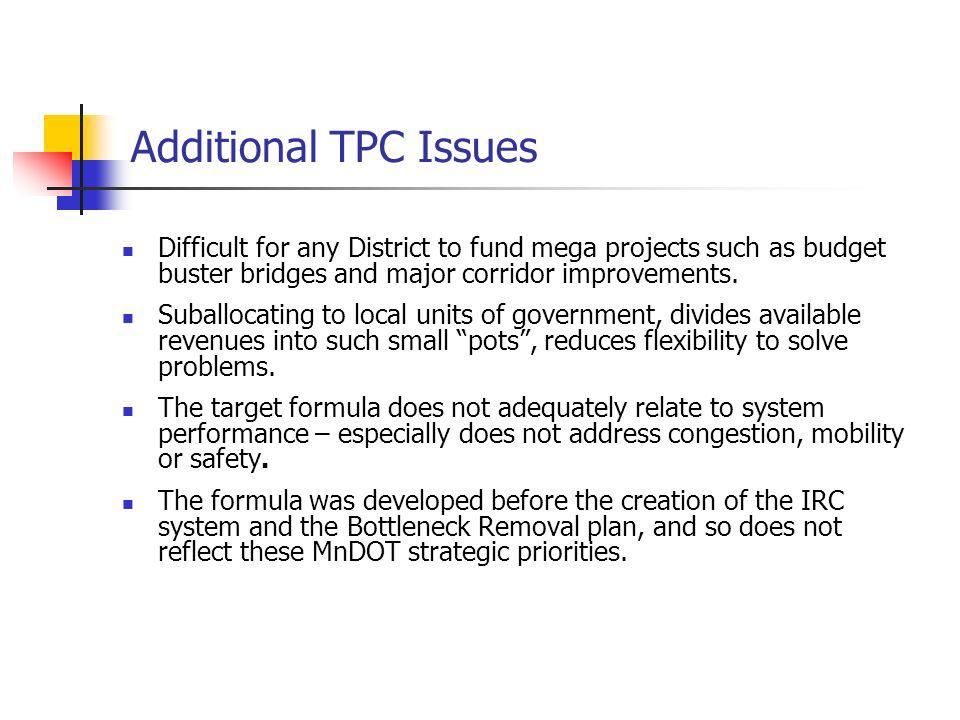 Additional TPC Issues Difficult for any District to fund mega projects such as budget buster bridges and major corridor improvements. Suballocating to