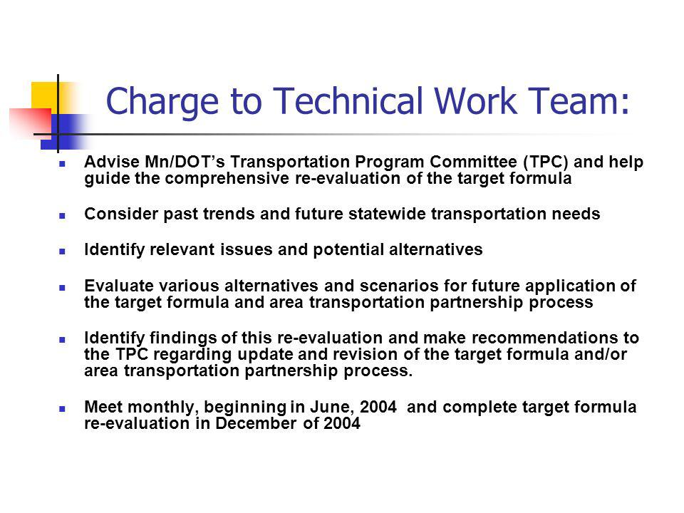 Charge to Technical Work Team: Advise Mn/DOTs Transportation Program Committee (TPC) and help guide the comprehensive re-evaluation of the target formula Consider past trends and future statewide transportation needs Identify relevant issues and potential alternatives Evaluate various alternatives and scenarios for future application of the target formula and area transportation partnership process Identify findings of this re-evaluation and make recommendations to the TPC regarding update and revision of the target formula and/or area transportation partnership process.