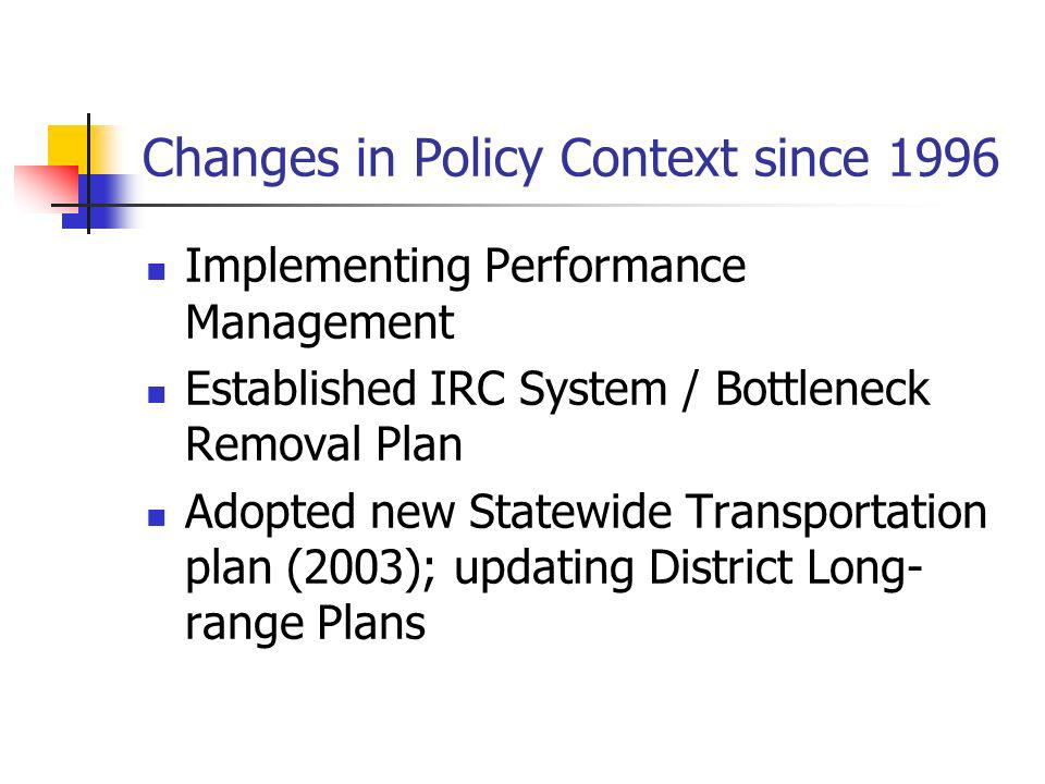 Changes in Policy Context since 1996 Implementing Performance Management Established IRC System / Bottleneck Removal Plan Adopted new Statewide Transp