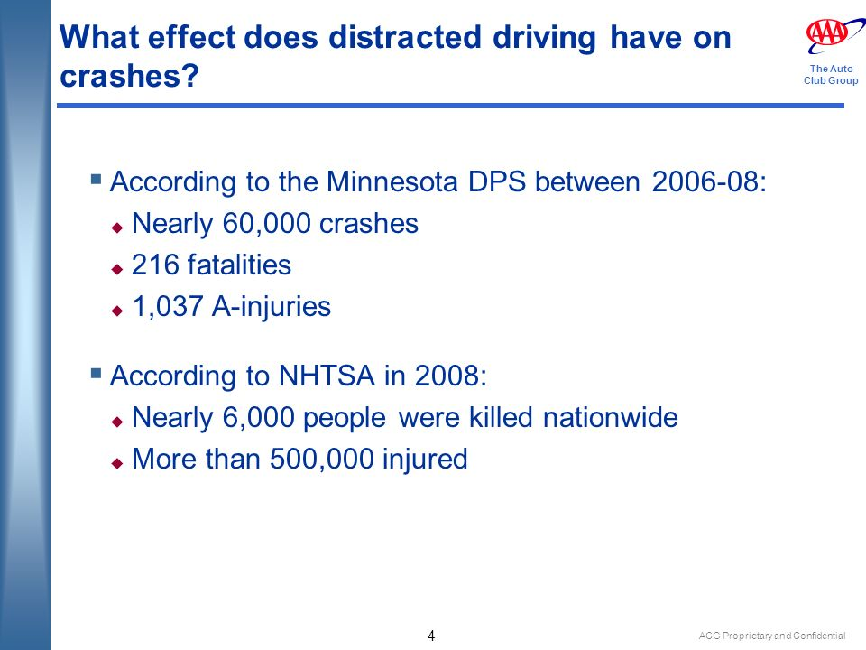 ACG Proprietary and Confidential 4 The Auto Club Group What effect does distracted driving have on crashes.