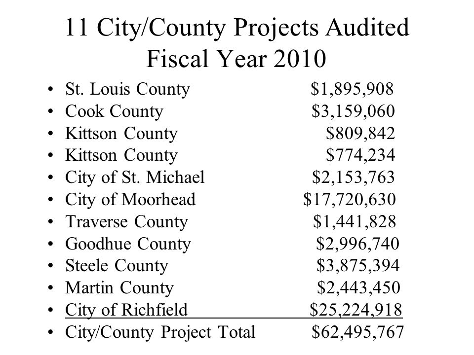 11 City/County Projects Audited Fiscal Year 2010 St. Louis County $1,895,908 Cook County $3,159,060 Kittson County $809,842 Kittson County $774,234 Ci