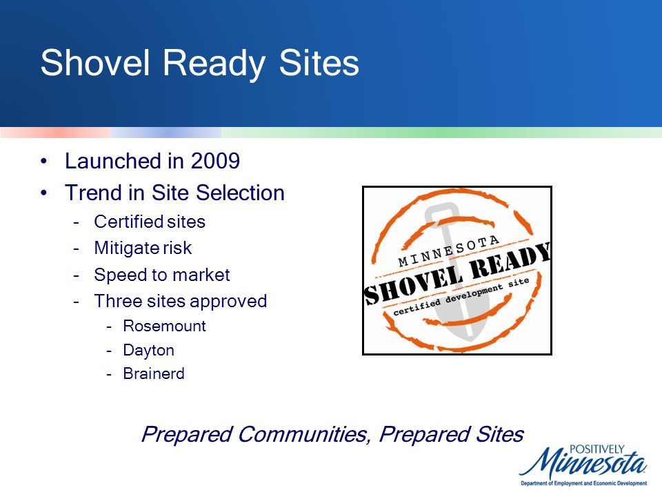 Shovel Ready Sites Launched in 2009 Trend in Site Selection -Certified sites -Mitigate risk -Speed to market -Three sites approved -Rosemount -Dayton -Brainerd Prepared Communities, Prepared Sites