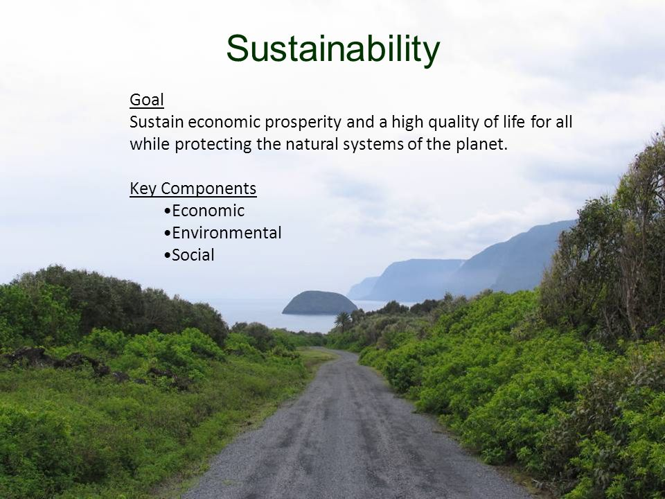 9 Sustainability Goal Sustain economic prosperity and a high quality of life for all while protecting the natural systems of the planet.