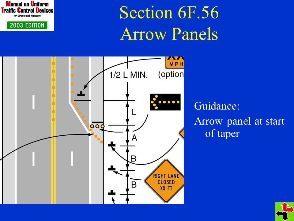 Section 6F.56 Arrow Panels Guidance: Arrow panel at start of taper