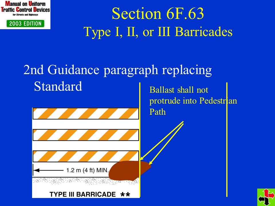 Section 6F.63 Type I, II, or III Barricades 2nd Guidance paragraph replacing Standard Ballast shall not protrude into Pedestrian Path