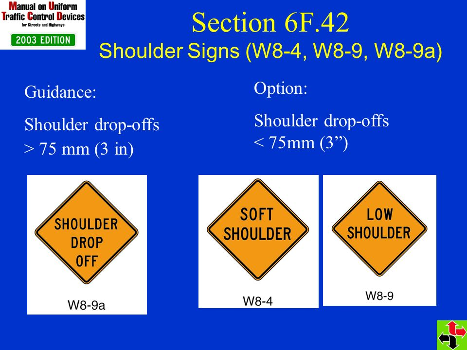 Section 6F.42 Shoulder Signs (W8-4, W8-9, W8-9a) Option: Shoulder drop-offs < 75mm (3) Guidance: Shoulder drop-offs > 75 mm (3 in)