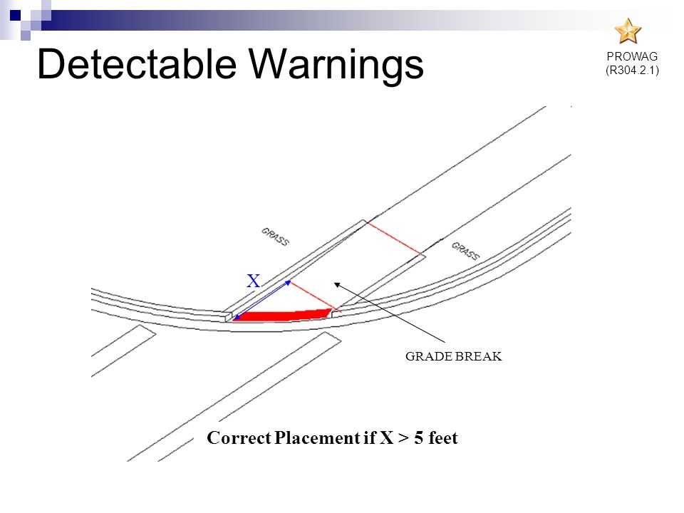 Detectable Warnings X Correct Placement if X < 5 feet Correct Placement if X > 5 feet GRADE BREAK PROWAG (R304.2.1)