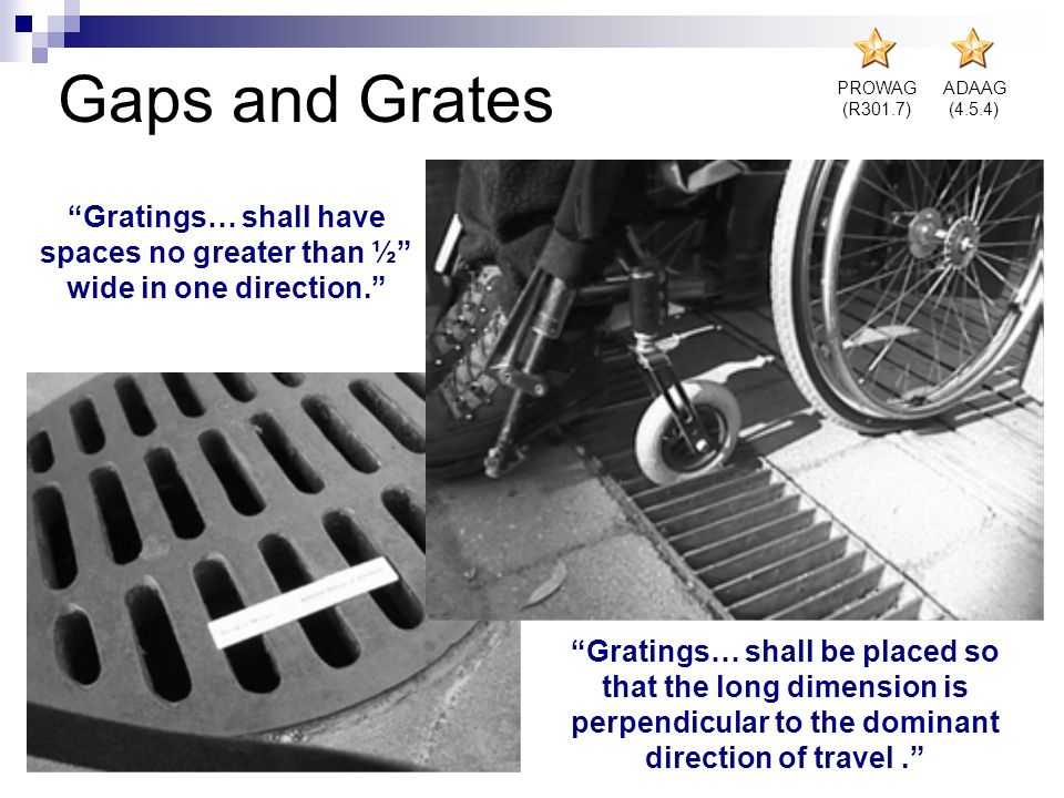 Gaps and Grates PROWAG (R301.7) ADAAG (4.5.4) Gratings… shall have spaces no greater than ½ wide in one direction. Gratings… shall be placed so that t