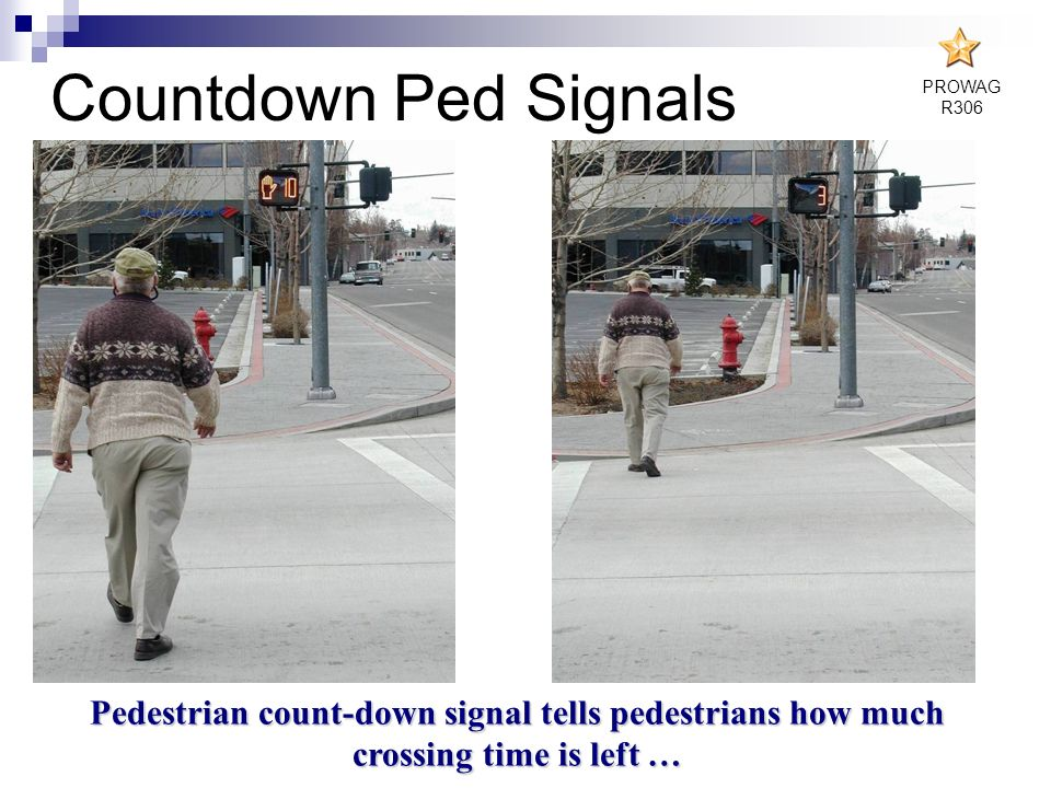 Pedestrian count-down signal tells pedestrians how much crossing time is left … Countdown Ped Signals PROWAG R306