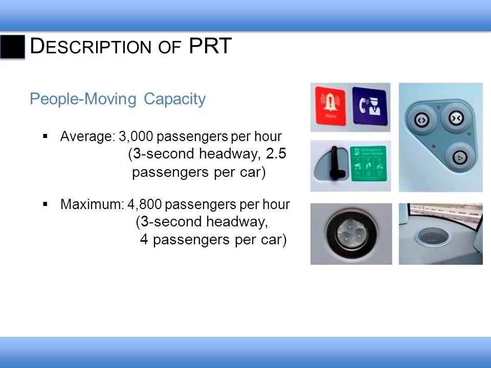 D ESCRIPTION OF PRT People-Moving Capacity Average: 3,000 passengers per hour (3-second headway, 2.5 passengers per car) Maximum: 4,800 passengers per