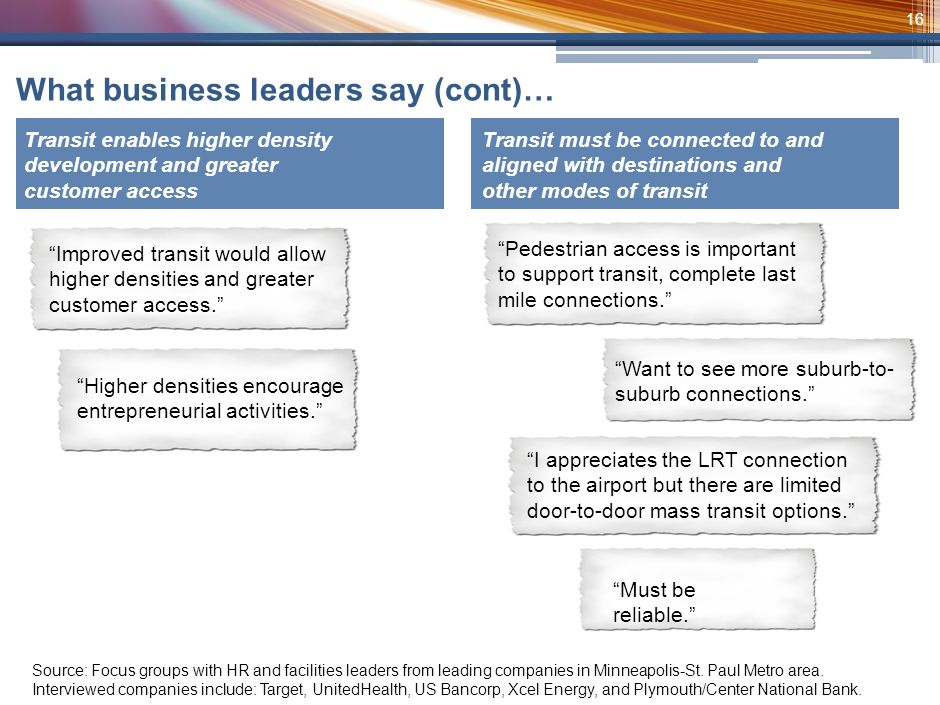 15 In addition to the quantitative analysis, we interviewed regional businesses about how they view transit Source: Focus groups with HR and facilities leaders from leading companies in Minneapolis-St.