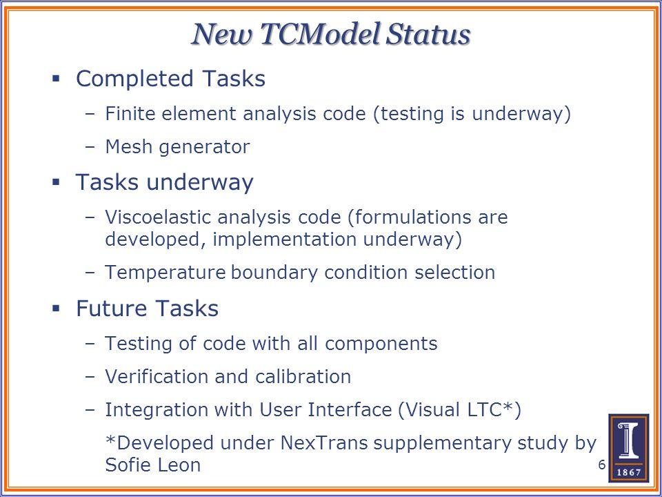 New TCModel Status Completed Tasks –Finite element analysis code (testing is underway) –Mesh generator Tasks underway –Viscoelastic analysis code (for