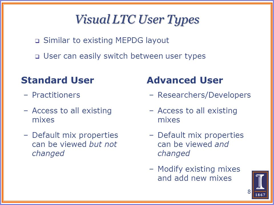 Visual LTC User Types –Practitioners –Access to all existing mixes –Default mix properties can be viewed but not changed –Researchers/Developers –Acce