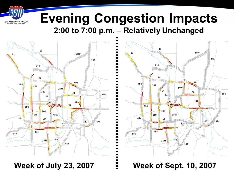 Evening Congestion Impacts 2:00 to 7:00 p.m.