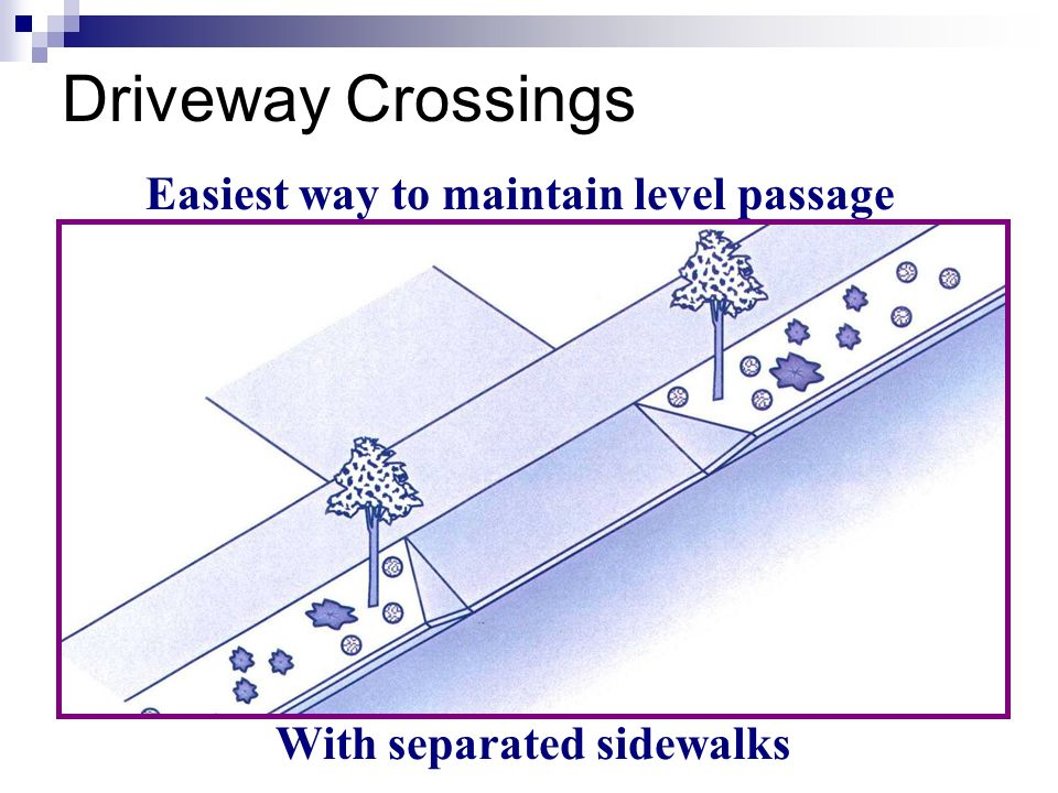 Easiest way to maintain level passage With separated sidewalks Driveway Crossings