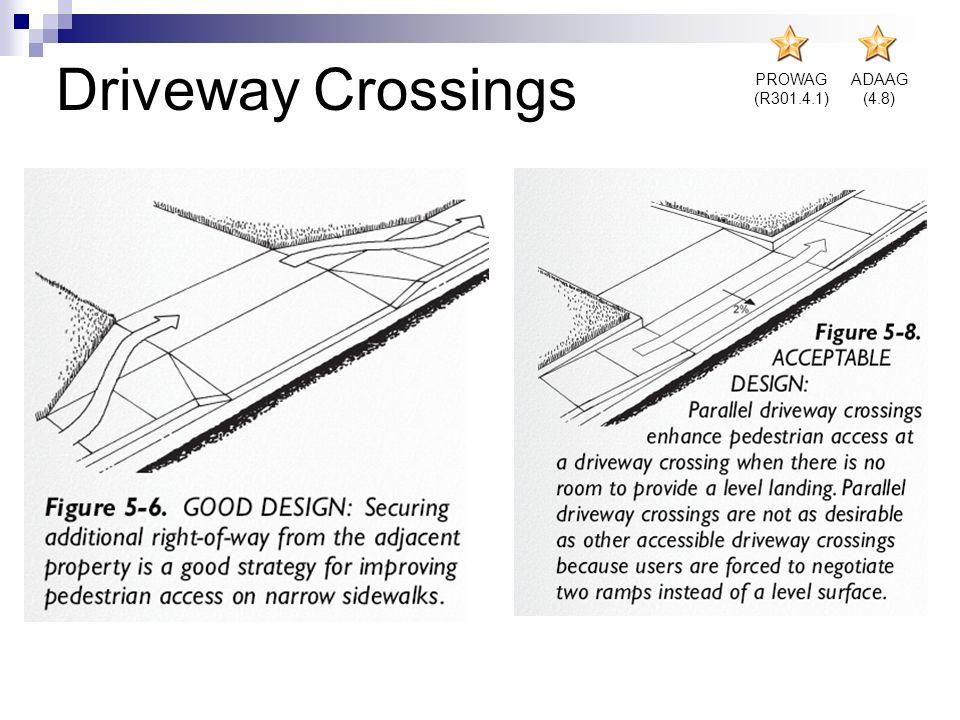 PROWAG (R301.4.1) ADAAG (4.8) Driveway Crossings
