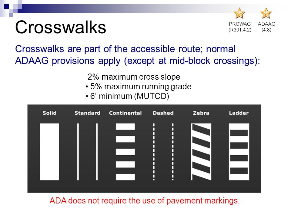 2% maximum cross slope 5% maximum running grade 6 minimum (MUTCD) Crosswalks Crosswalks are part of the accessible route; normal ADAAG provisions appl