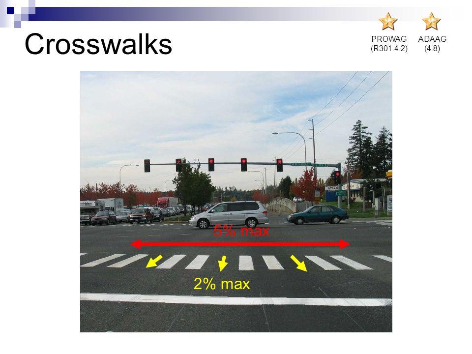 Crosswalks 5% max 2% max PROWAG (R301.4.2) ADAAG (4.8)