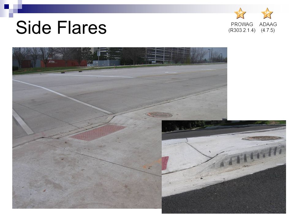 Side Flares PROWAG (R303.2.1.4) ADAAG (4.7.5)