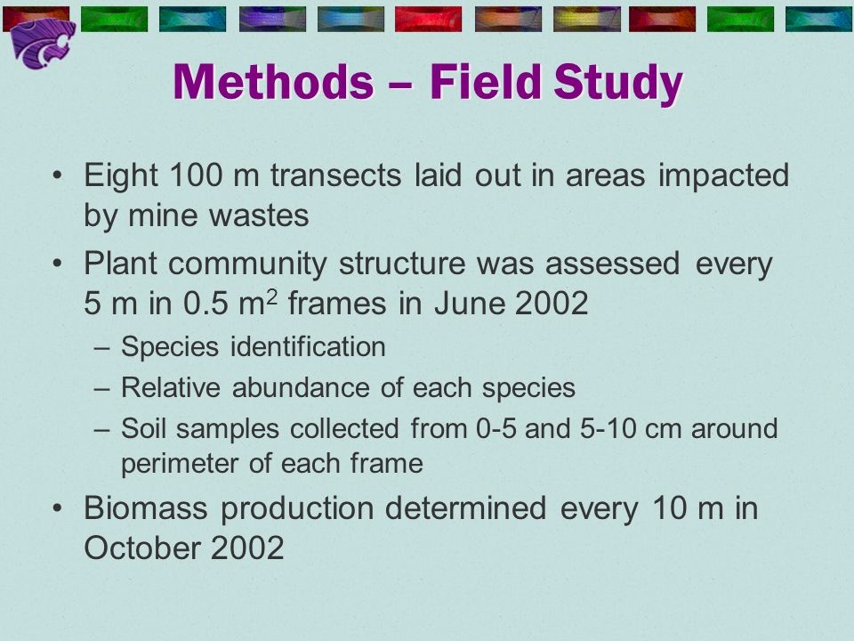 Methods – Field Study Eight 100 m transects laid out in areas impacted by mine wastes Plant community structure was assessed every 5 m in 0.5 m 2 fram