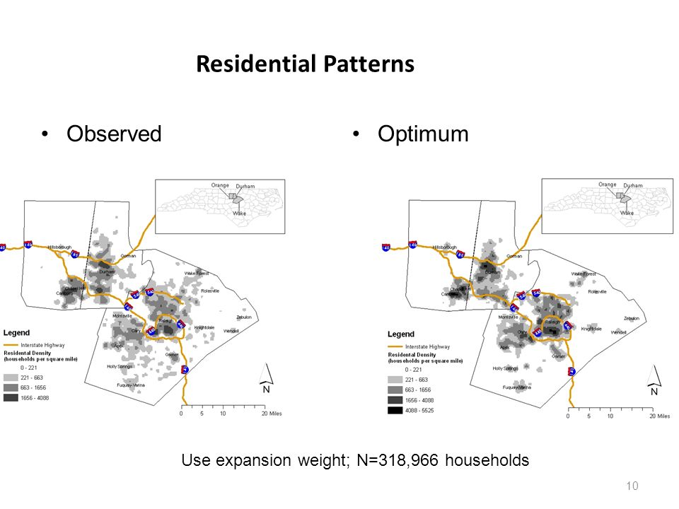10 Residential Patterns ObservedOptimum Use expansion weight; N=318,966 households