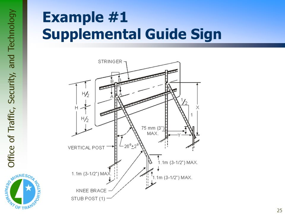 Office of Traffic, Security, and Technology 25 Example #1 Supplemental Guide Sign