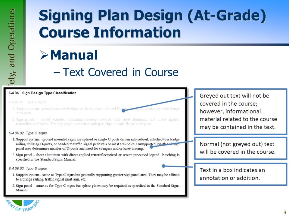 Office of Traffic, Safety, and Operations 8 Signing Plan Design (At-Grade) Course Information Manual –Text Covered in Course