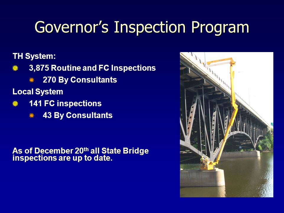 Governors Inspection Program TH System: 3,875 Routine and FC Inspections 270 By Consultants Local System 141 FC inspections 43 By Consultants As of De