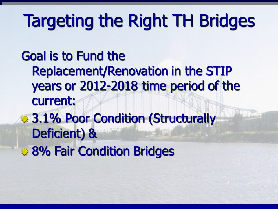 Targeting the Right TH Bridges Goal is to Fund the Replacement/Renovation in the STIP years or 2012-2018 time period of the current: 3.1% Poor Conditi