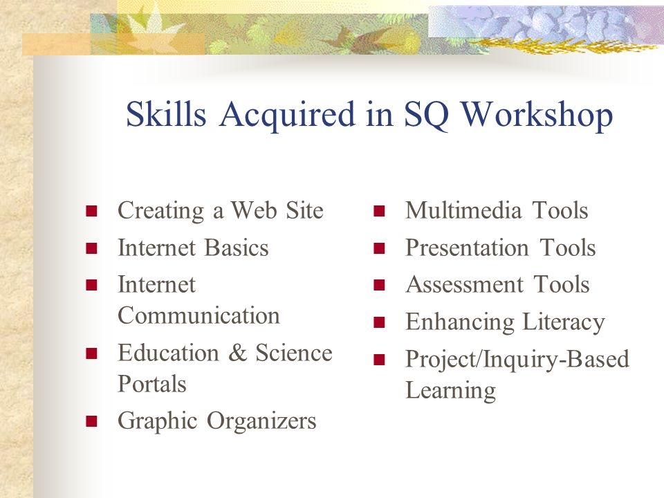 Skills Acquired in SQ Workshop Creating a Web Site Internet Basics Internet Communication Education & Science Portals Graphic Organizers Multimedia To