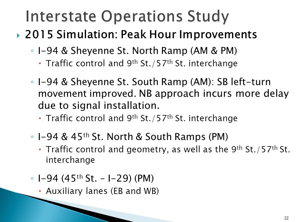 2015 Simulation: Peak Hour Improvements 22 Interstate Operations Study I-94 & Sheyenne St.
