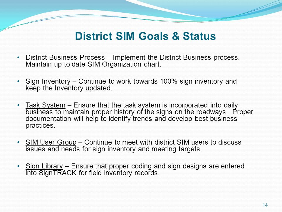 14 District SIM Goals & Status District Business Process – Implement the District Business process.