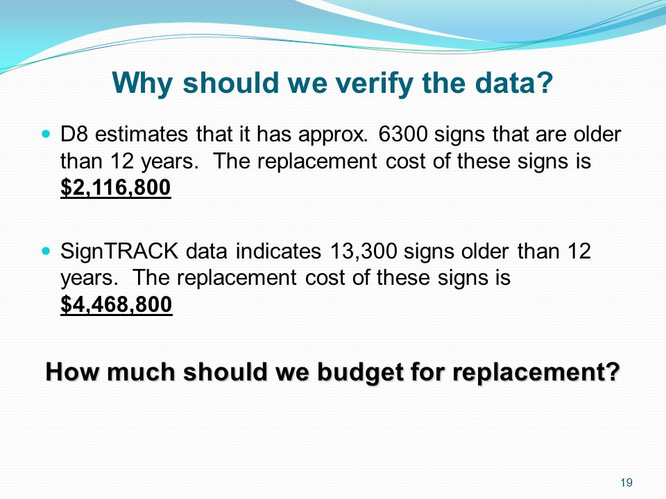19 Why should we verify the data. D8 estimates that it has approx.