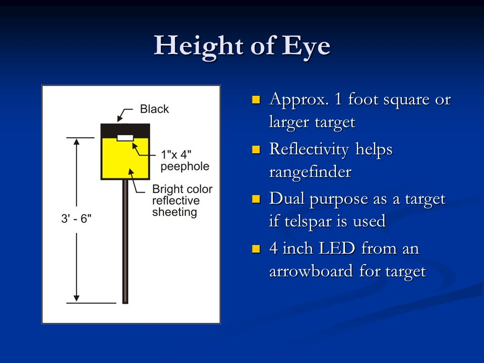 Height of Eye Approx. 1 foot square or larger target Reflectivity helps rangefinder Dual purpose as a target if telspar is used 4 inch LED from an arr